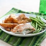 Gorgonzola Stuffed Pork Chops by EclecticRecipes.com #recipe