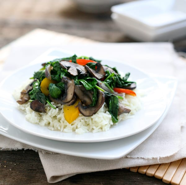 Mushroom Spinach Stir Fry by EclecticRecipes.com #recipe