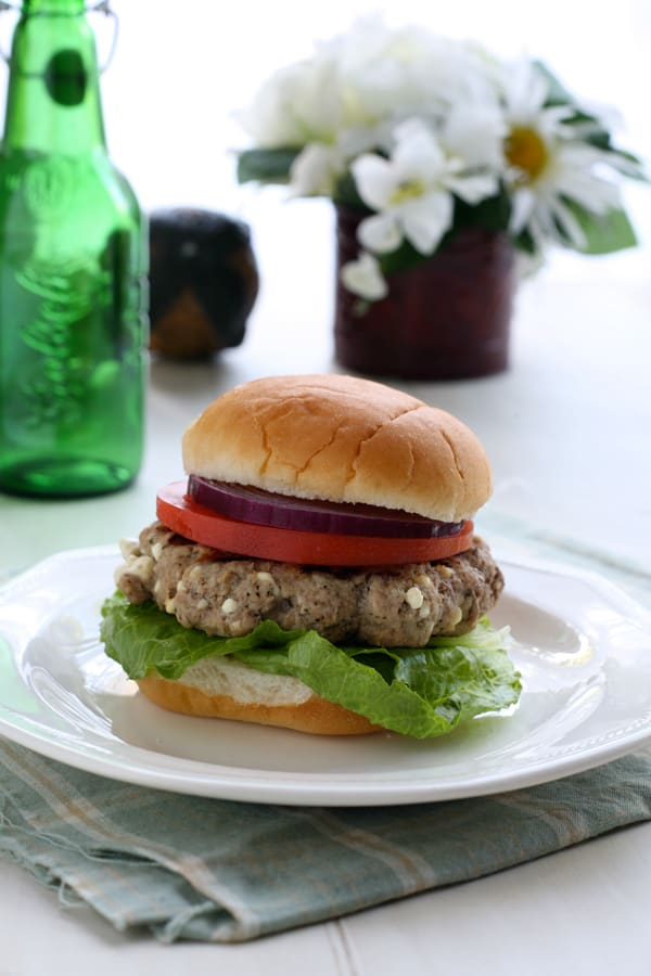 Greek Style Turkey Burgers with Feta by EclecticRecipes.com #recipe