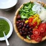 Italian Salad and Fresh Basil Vinaigrette  by EclecticRecipes.com #recipe