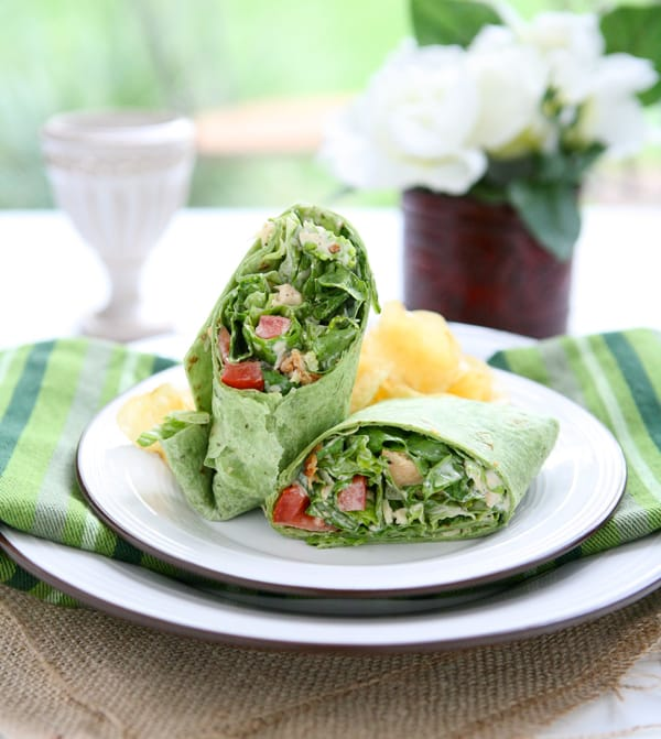 Chicken Caesar Salad Wraps by EclecticRecipes.com #recipe