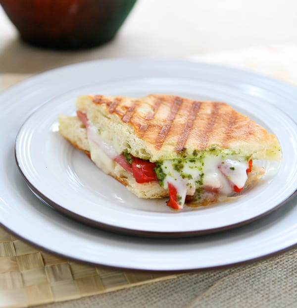 Panini with Prosciutto, Roasted Pepper and Basil Pesto by EclecticRecipes.com #recipe