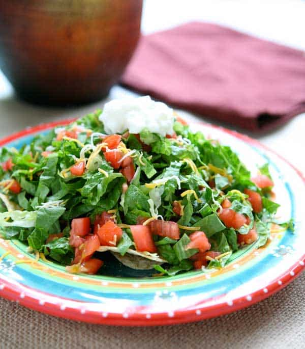 Lightened Up Taco Salad by EclecticRecipes.com #recipe