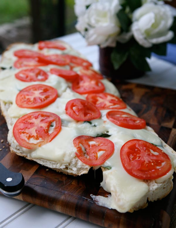 Basil Garlic Cheese Bread by EclecticRecipes.com #recipe