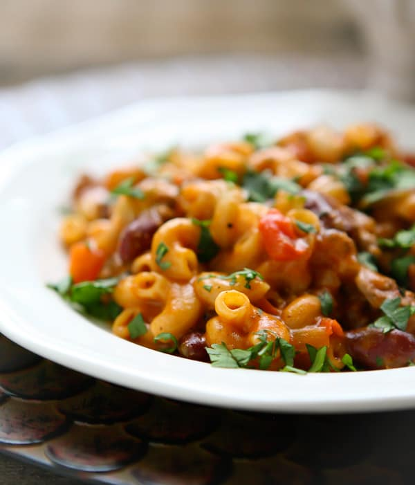 Homemade Chili Mac Recipe by EclecticRecipes.com #recipe