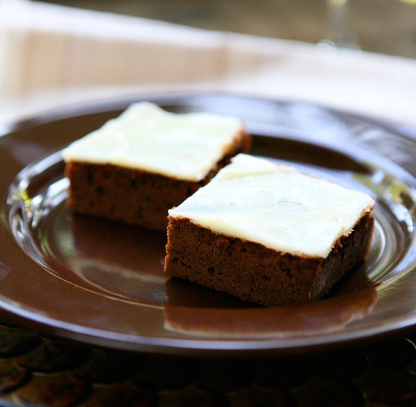 Nutella Brownies with Cream Cheese Frosting by EclecticRecipes.com #recipe