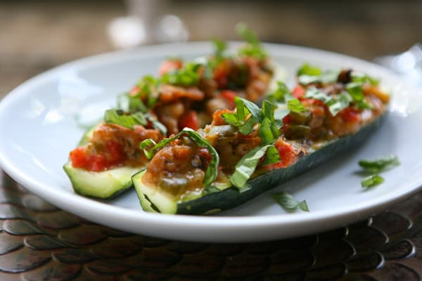Italian Stuffed Zucchini Boats by EclecticRecipes.com #recipe