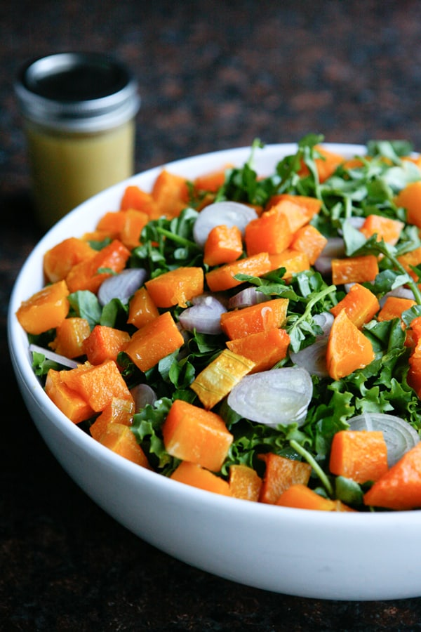 Butternut Sqaush Salad with Escarole by EclecticRecipes.com #recipe