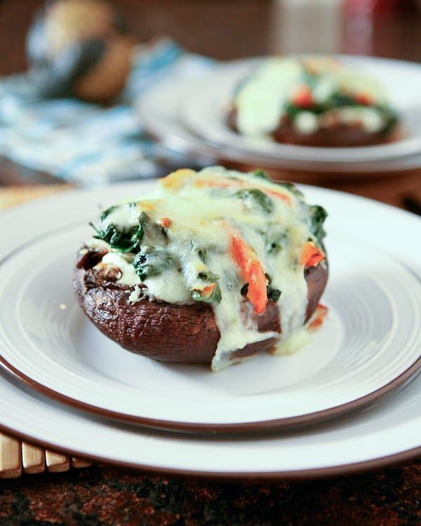 Spinach And Ricotta Stuffed Portobello Mushrooms by EclecticRecipes.com #recipe
