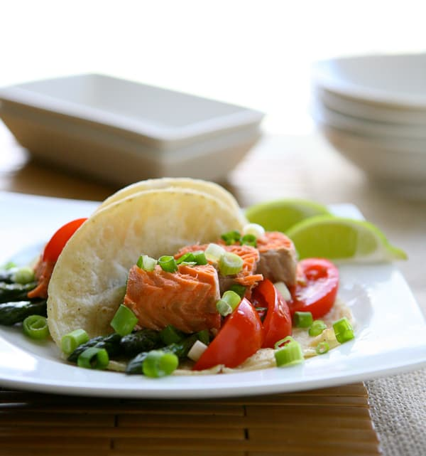 Salmon and Asparagus Tacos by EclecticRecipes.com #recipe