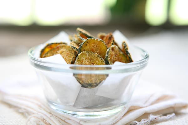 Baked Zucchini Chips by EclecticRecipes.com #recipe