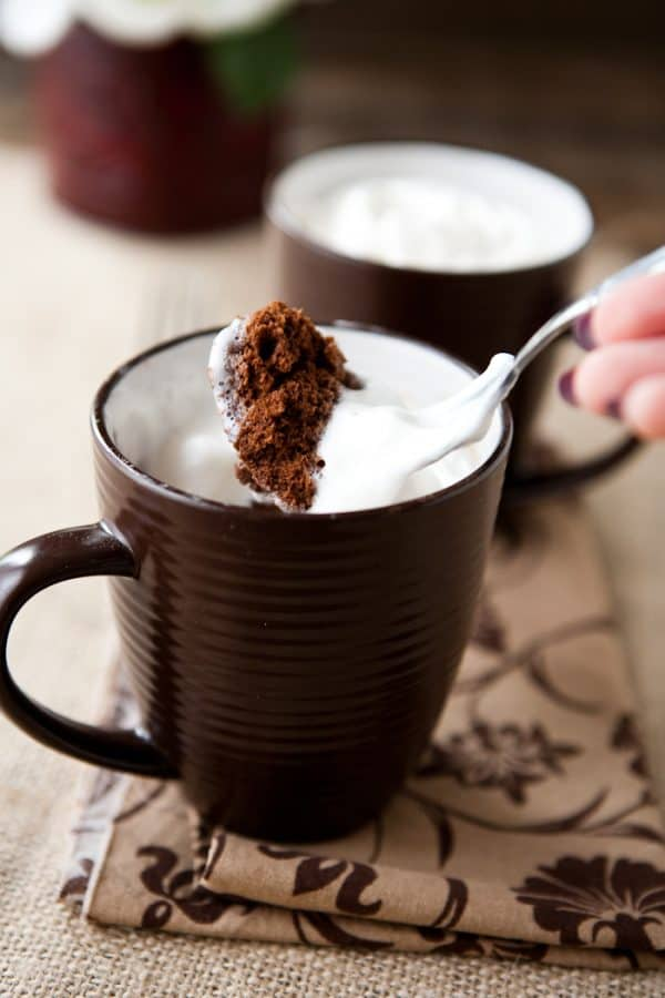 100 Calorie 2 Minute Chocolate Mug Cake by EclecticRecipes.com #recipe