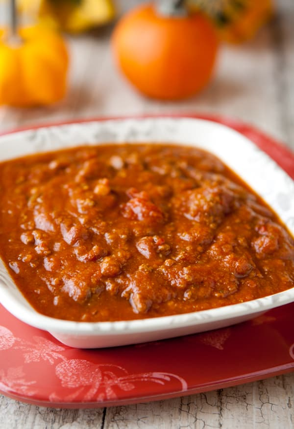Chipotle Pumpkin Chili by EclecticRecipes.com #recipe