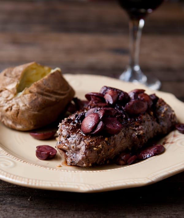 Rib eye Steak with Burgundy Mushroom Sauce by EclecticRecipes.com #recipe