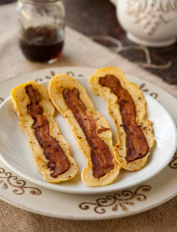 Bacon Strip Pancakes @EclecticEveryday