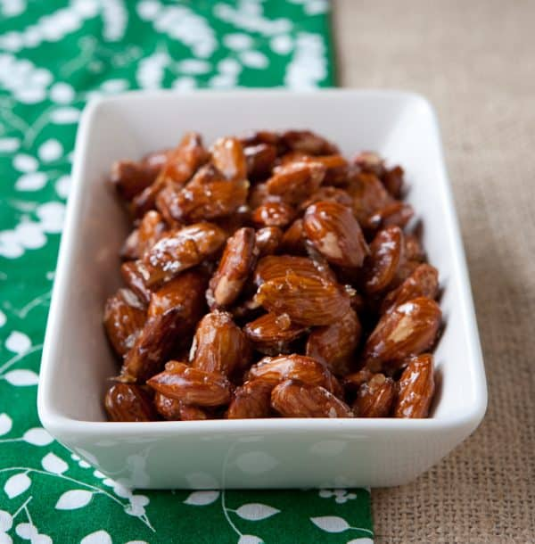 Sweet and Sticky Honey Roasted Almonds by EclecticRecipes.com #recipe