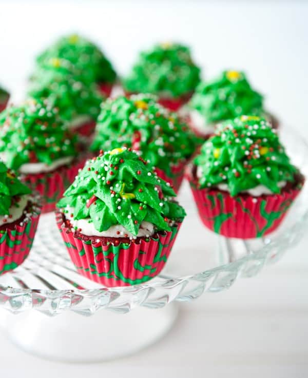 Christmas Tree Cupcakes by EclecticRecipes.com #recipe
