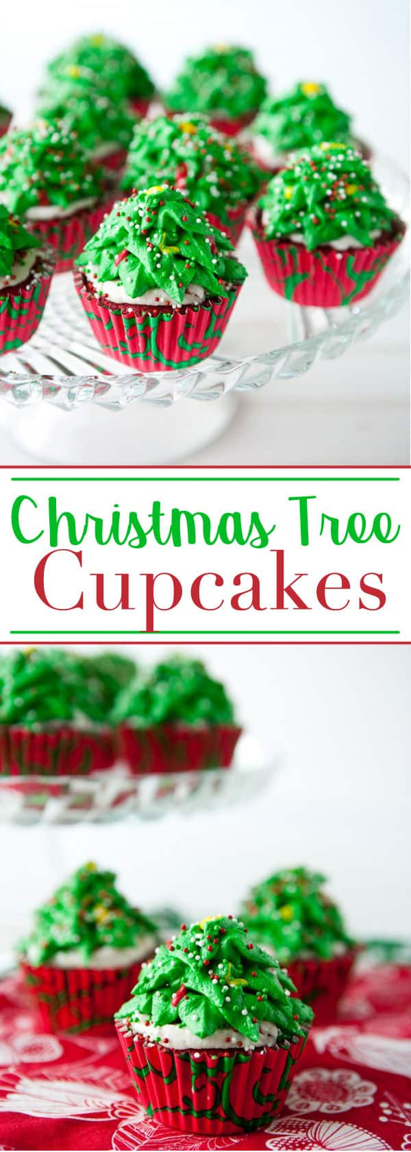 Easy to Make Christmas Tree Cupcakes are super cute and delicious! #christmas #holiday #cupcakes #christmastree