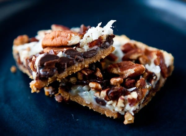 Magic Cookie Bars with Dates by EclecticRecipes.com #recipe