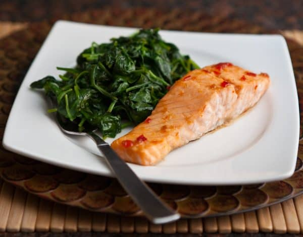 Sweet Chili Glazed Salmon by EclecticRecipes.com #recipe