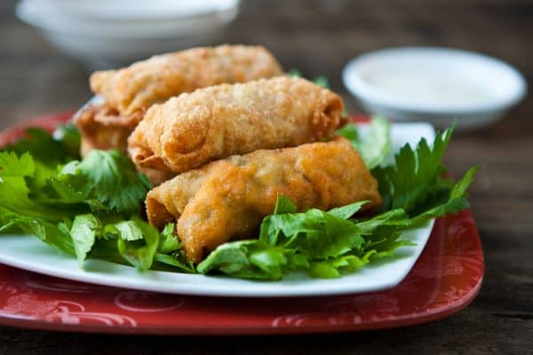 Buffalo Chicken Eggrolls by EclecticRecipes.com #recipe