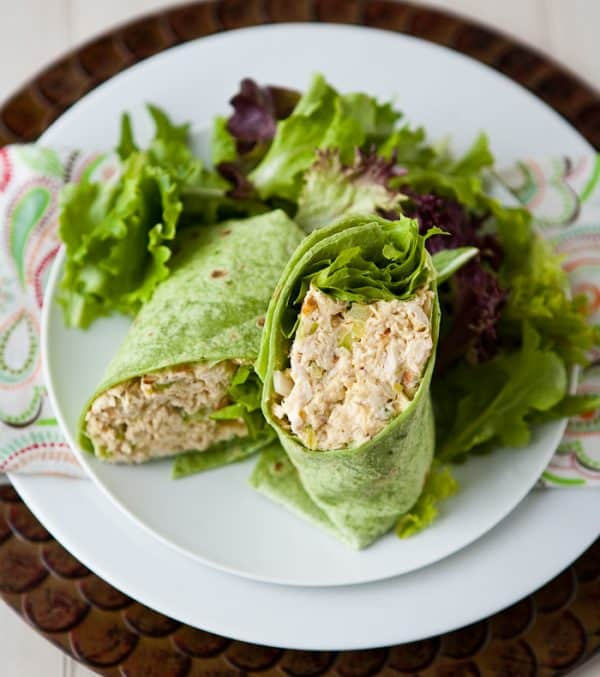 Curried Peach Chicken Salad by EclecticRecipes.com #recipe