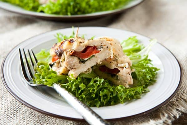 Grilled and Stuffed Chicken Caprese by EclecticRecipes.com #recipe
