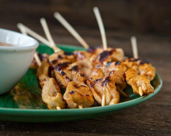 Grilled Chicken Satays with Peanut Dipping Sauce by EclecticRecipes.com #recipe