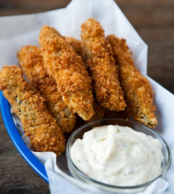 Fried Panko Dipped Pickle Spears by EclecticRecipes.com #recipe