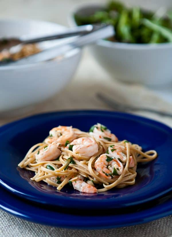 Shrimp Scampi over Whole Grain Linguini by EclecticRecipes.com #recipe