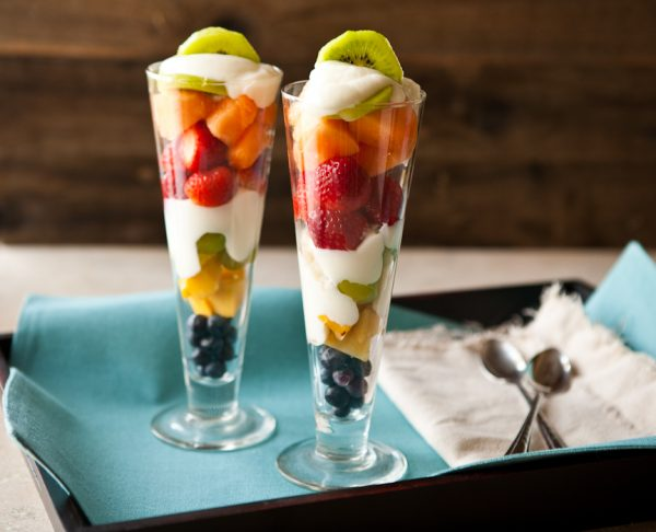 Layered Fruit and Yogurt Salad by EclecticRecipes.com #recipe