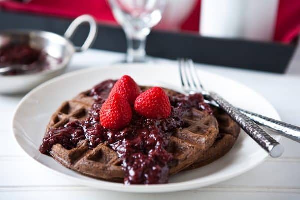 Chocolate Waffles with Slow Cooker Boozy Berries by EclecticRecipes.com #recipe