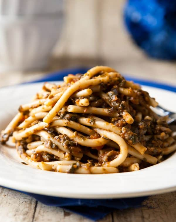 Bucatini with Vegetarian Ragu by EclecticRecipes.com #recipe