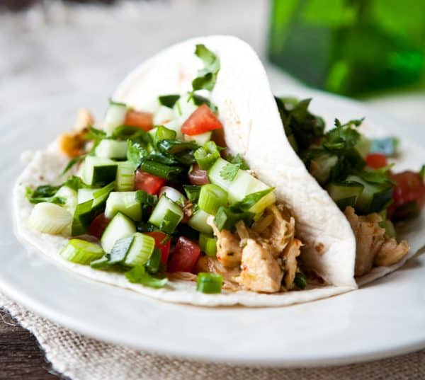 Thai Chicken Tacos by EclecticRecipes.com #recipe