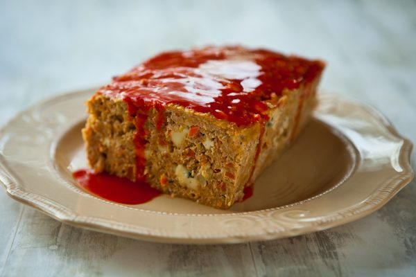 Buffalo Chicken Meat Loaf by EclecticRecipes.com #recipe