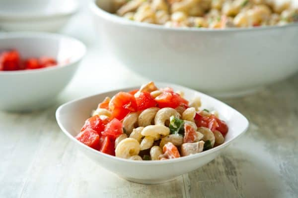 Chicken Bacon Ranch Pasta Salad by EclecticRecipes.com #recipe