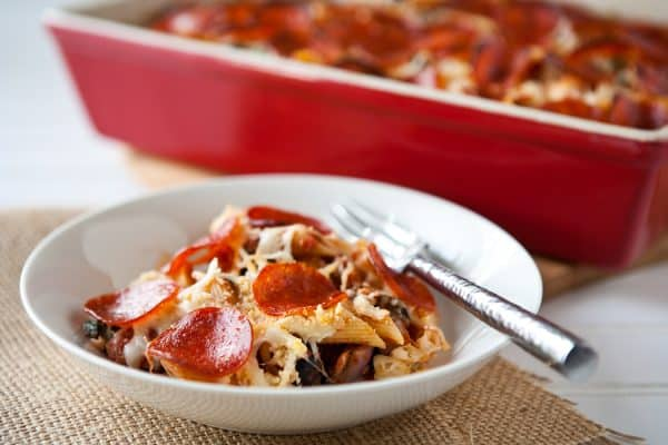 Pizza Pasta Bake by EclecticRecipes.com #recipe