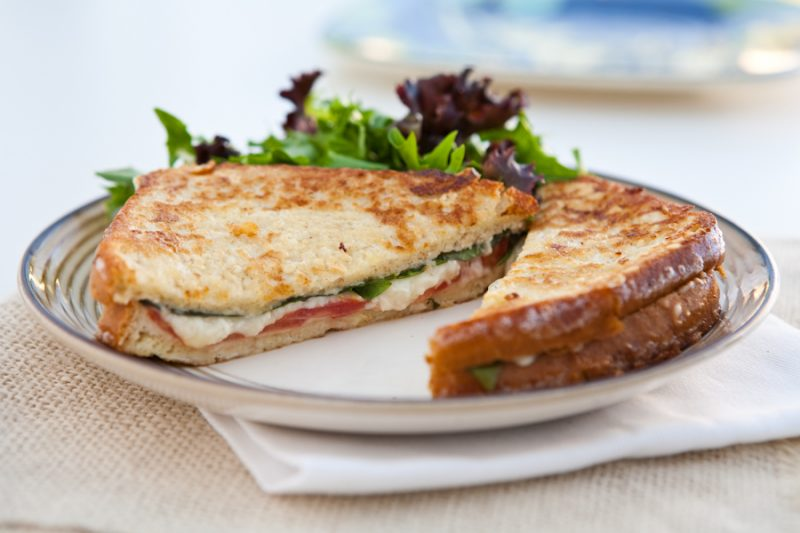 Fried Mozzarella, Basil and Tomato Sandwiches  by EclecticRecipes.com #recipe