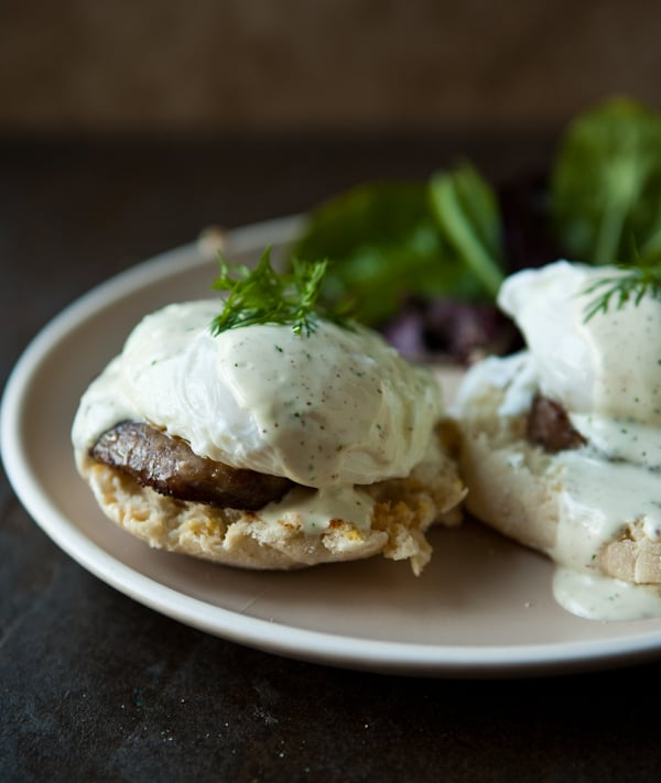 Sausage and Eggs Benedict with Mock Hollandaise Sauce by EclecticRecipes.com #recipe