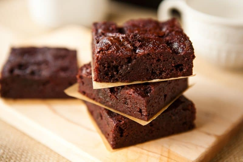 Eclectic Recipes Boozy Raspberry Poke Brownies Eclectic