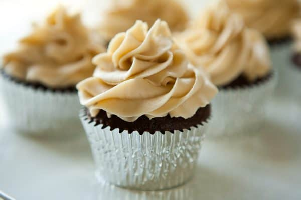 Chocolate Stout Cupcakes with Irish Cream Buttercream by EclecticRecipes.com #recipe