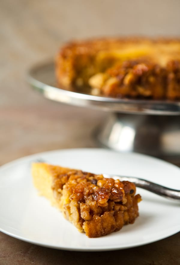 Bourbon Walnut Cornmeal Cake by EclecticRecipes.com #recipe