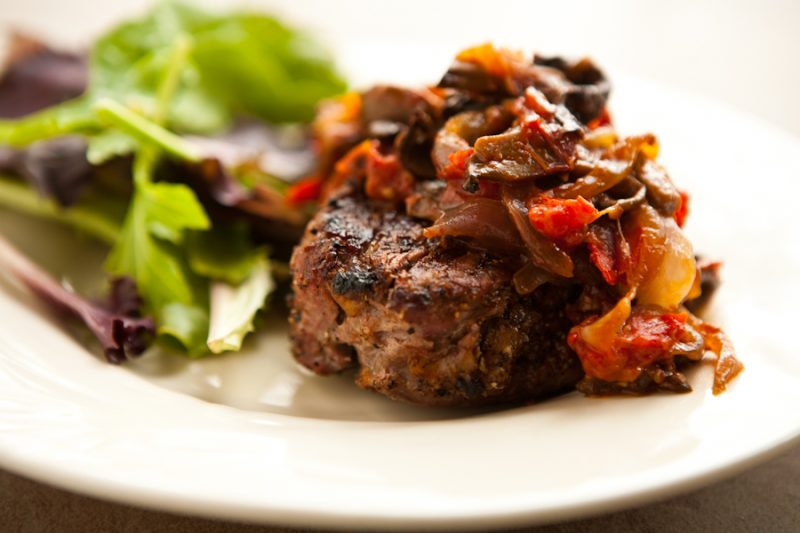 Eclectic Recipes » Grilled Steak with Tomato Mushroom Sauce