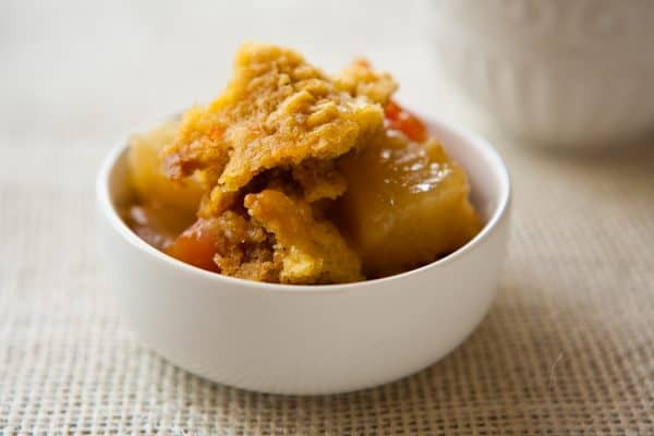 Tropical Slow Cooker Dump Cake by EclecticRecipes.com #recipe