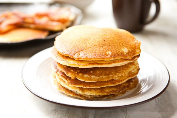 Cornmeal Pancakes by EclecticRecipes.com #recipe