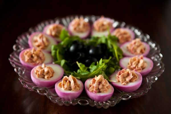 Beet Deviled Eggs and Cook for the Cure with KitchenAid by EclecticRecipes.com #recipe