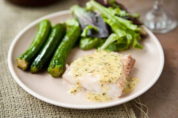Grouper with Lemon Basil Cream Sauce by EclecticRecipes.com #recipe