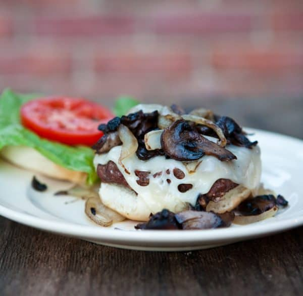 Grilled Mushroom Swiss Burgers  by EclecticRecipes.com #recipe