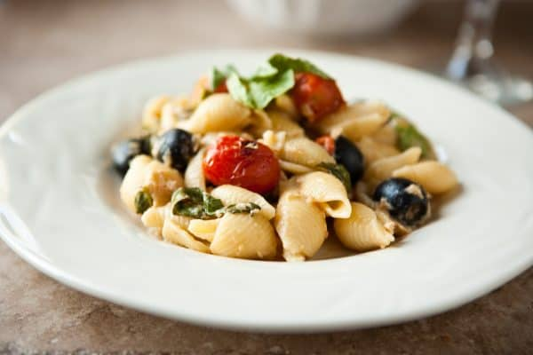 Tuna Basil Pasta with Olives by EclecticRecipes.com #recipe