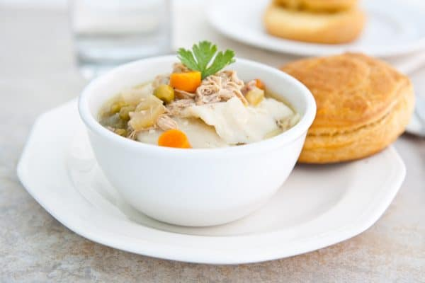 Slow Cooker Chicken and Dumplings by EclecticRecipes.com #recipe